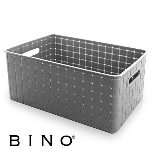 (BINO Woven Plastic Storage Basket, Large (Grey))