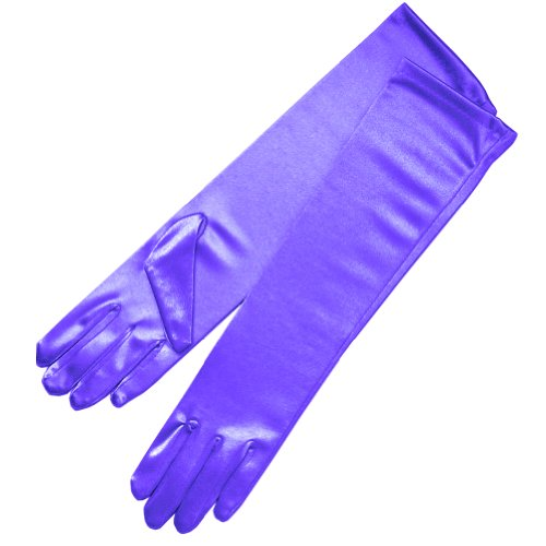 "ZaZa Bridal 15.5"" Long Shiny Stretch Satin Dress Gloves Below-The-Elbow Length 8BL-Purple"