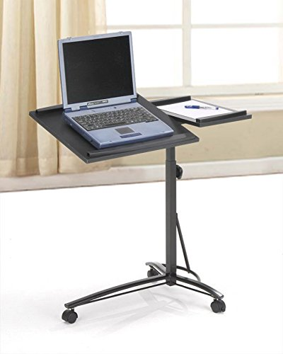Black Desks Laptop Computer Stand with Adjustable Table Top and Casters by eHomeProducts