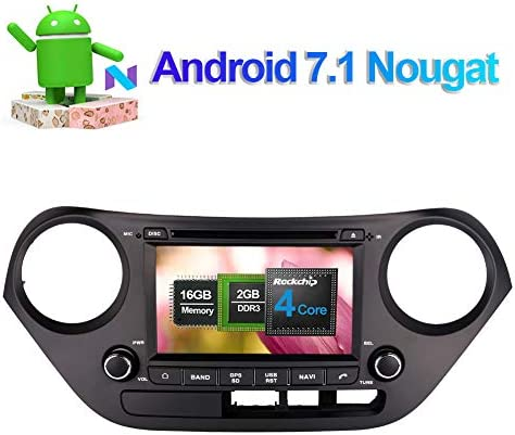 Flynavigo 7 Inch Android 7.1 Quad Core Car Radio Stereo for Hyundai I10 Hyundai Grand i10 2013 Up with DVD Player GPS Navigation Support Bluetooth FM AM WiFi 3G SWC Phone Link Camera in