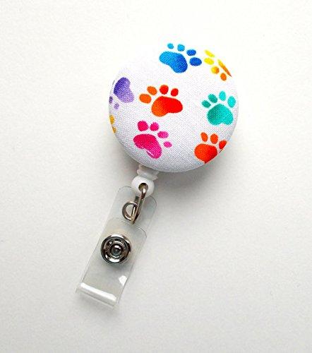 Rainbow Paw Print - Nurse Badge Holder - Vet Badge Reel - Retractable Badge Reel - Teacher Badge - RN Badge Reel - Veterinarian Badge