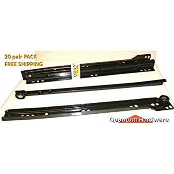16 Inch 75 Lb Black Epoxy Coated Cabinet Drawer Slides