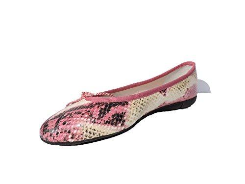 Paul Mayer Attitudes Womens Bingo,New Georgia 9008 Pink, White Python Snakeskin Ballet Flats Shoes Size 7.5 B (Embossed Pumps Snakeskin)