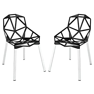 Modway Connections Dining Chair Set of 2 in Black - CONTEMPORARY STYLE - With it's networked array of welded aluminum rods, the design results in a fantastic geometric array that conveys both energy and excitement. INDOOR/OUTDOOR USE - Popularly used around the dining table, outdoor patio or backyard events, Connections enhances the dining experience both inside and out. LASTING CONSTRUCTION - Connections is supported by tubular chrome legs, with black plastic foot caps. - patio-furniture, patio-chairs, patio - 41TBkq39UYL. SS400  -