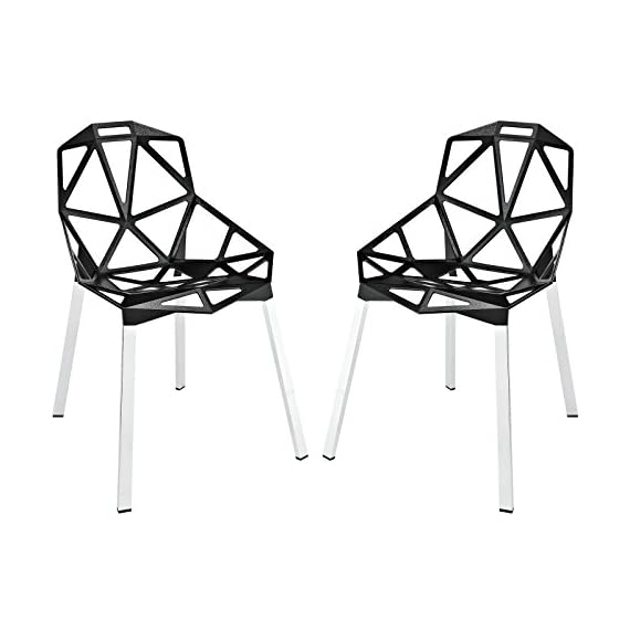 Modway Connections Dining Chair Set of 2 in Black - CONTEMPORARY STYLE - With it's networked array of welded aluminum rods, the design results in a fantastic geometric array that conveys both energy and excitement. INDOOR/OUTDOOR USE - Popularly used around the dining table, outdoor patio or backyard events, Connections enhances the dining experience both inside and out. LASTING CONSTRUCTION - Connections is supported by tubular chrome legs, with black plastic foot caps. - patio-furniture, patio-chairs, patio - 41TBkq39UYL. SS570  -