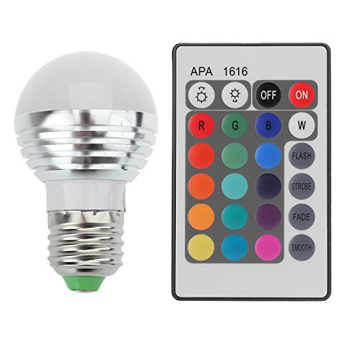 Lightahead® E27/E26 Standard Screw Base 16 Colors Changing Dimmable 3W RGB LED Light Bulb with IR Remote Control Mood Ambiance Lighting (Round Top)