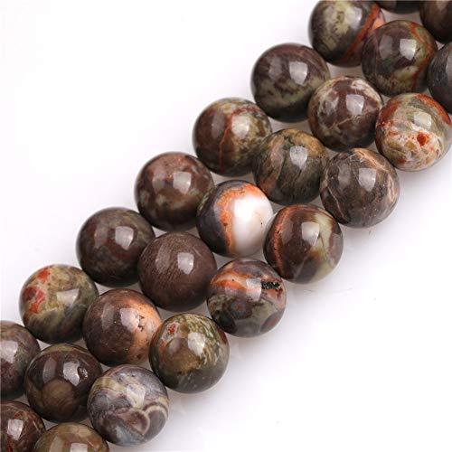 JOE FOREMAN 8mm Brown Rainforest Agate Semi Precious Gemstone Round Loose Beads for Jewelry Making DIY Handmade Craft Supplies 15