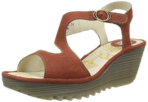 Fly London WoMen Yanca Wedge Sandals Red (Brick 023)