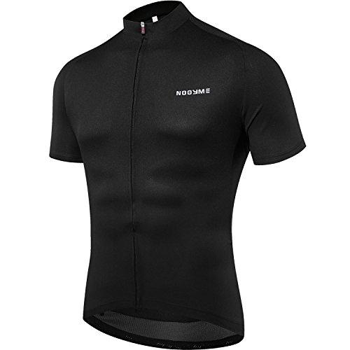 NOOYME Men's Cycling Jersey Short Sleeve Bike Shirt Breathable Printed Long Sleeve Bike Jersey (Large, Black)