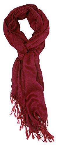 Scarf Cranberry - Love Lakeside-Women's Must Have Solid Color Crinkle Scarf (One, Cranberry)