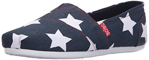 Lil Women's Flat Americana Plush BOBS Stars Navy Skechers from axnIwq