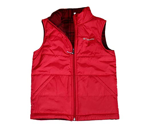 Columbia Youth Kids Boys Ice Chips II Reversible Fleece Puffer Vest (Red Maroon, M 10/12) - Maroon Chip