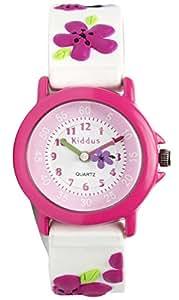 Reloj niña chica infantil, analógico de cuarzo LILA FLORES en caja de regalo, Resistente al agua, Mecanismo Seiko, Batería Sony, lila, Kiddus RE0271