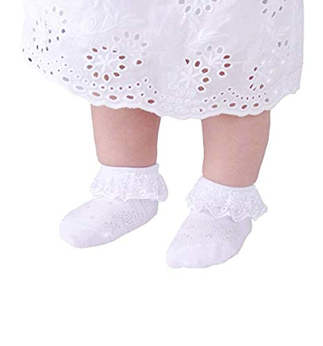 CozyWay Baby Girls Frilly Lace Basic Socks Newborn Toddlers 0-3 Years Cotton pack of 6 … (Lace#4/white/6 pack, 1-2 Y)