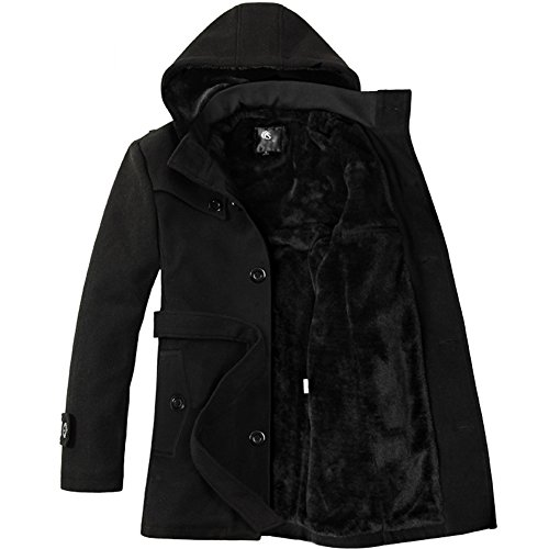 new styles 800b1 97f98 SZAWSL Mens Winter Thick Warm Hooded Woolen Coat Faux Fur Lined Overcoat