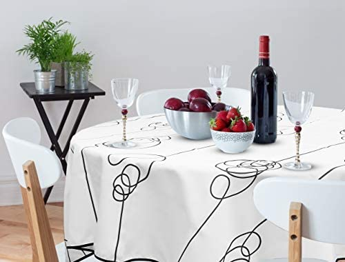 Oinkiemoo Modern Elegant Rectangular And Round Tablecloth Table Cloth Cover For Kitchen Tables And Outdoor Use White Decorative Tablecloths Are Suitable For Wedding Banquet Party 60 Inches Round Buy Online At