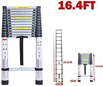 Escalera telescópica de 5 m, con forma de V, escaleras de aluminio multiusos, escaleras plegables para fácil transporte y almacenaje, capacidad de 150 kg, EN131: Amazon.es: Bricolaje y herramientas