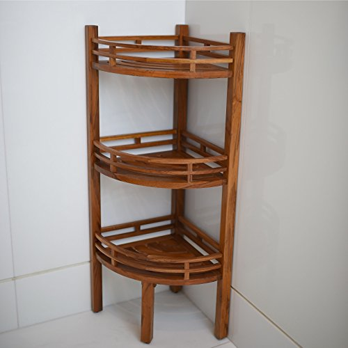 Spa Teak Corner Shelf, Natural Finish by Joshua Lane (Image #1)
