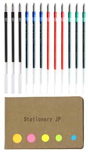 (Uni-ball SXR-80-07 Refills for Jetstreem Ballpoint Pen, 0.7mm, 4 Colors, 12-Pack, Sticky Notes Value Set)