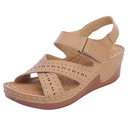 (AgrinTol Summer Women Plat Hollow Sandals Wedge Heel Ankle Strap Sandals Peep Toe Comfy Shoes Beige)