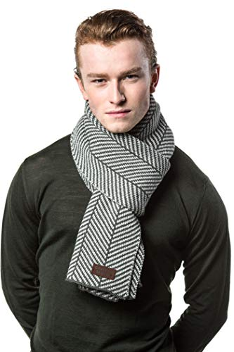 Gallery Seven Winter Scarf for Men, Soft Knit Scarve, in an Elegant Gift Box - Gray (Fashion Scarf Men)