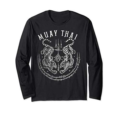 Muay Thai Gift Thai Boxing Tiger Vintage Tattoo Design Long Sleeve T-Shirt