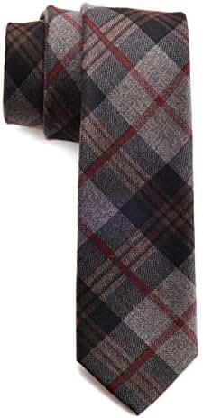 Mens Necktie Plaid Cashmere Wool Slim Tie 2.4 inch