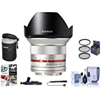 Rokinon 12mm F/2.0 Ultra Wide, Manual Focus Lens for Fujifilm X Mount, Silver - Bundle With 67mm Filter Kit, Lens Case, Cleaning Kit, Capleash II, Lenspen Lens Cleaner, PC Software Package