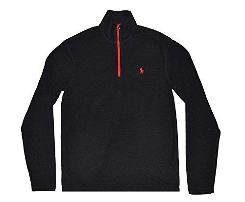 Polo Ralph Lauren Mens 1/2 Zip Mock Neck Fleece Sweater (Black/Red, (Mens Fleece Half Zip Pullover)