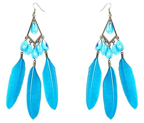 1 Pair Sky Blue Feather Earrings Bead Bronze Rhombus Charming Dangle Ornament New