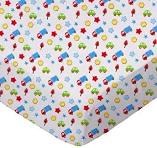 product image for SheetWorld 100% Cotton Percale Fitted Crib Toddler Sheet 28 x 52, Baby Cars & Trucks, Made in USA