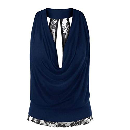 NCCIYAZ Womens Vest Tank Lace Hem Backless Deep V-Neck Sleeveless Shirt Sexy Ladies Party Tops Plus Size Oversized(3XL(10),Navy)