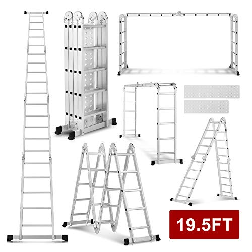 19.5ft Ex-Large Heavy Duty Gaint Aluminum Multi Purpose Folding Ladder Scaffold Ladders with 2 Free Platform Plates- 330Lbs