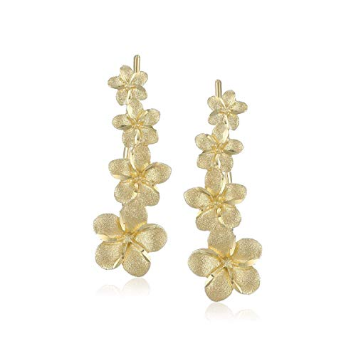 Eternity Gold Flower Matte-Finish Climber Drop Earrings in 14K Gold