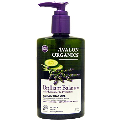 Avalon Organics, Brilliant Balance Cleansing Gel, with Lavender & Prebiotics, 8 fl oz (237 ml) - 2pc