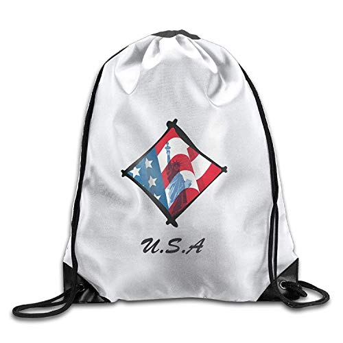 AoshangGardeflag American Flag Statue Of Liberty-clipart Cool Gym Drawstring Bags Travel Backpack Tote School Rucksack - ()
