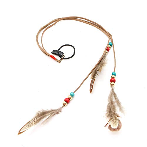 JETEHO Women's Bohemia Feather Hair Clip, Handmade Boho Hippie Hair Extensions with Clip Comb DIY Accessories Hairpin Headdress