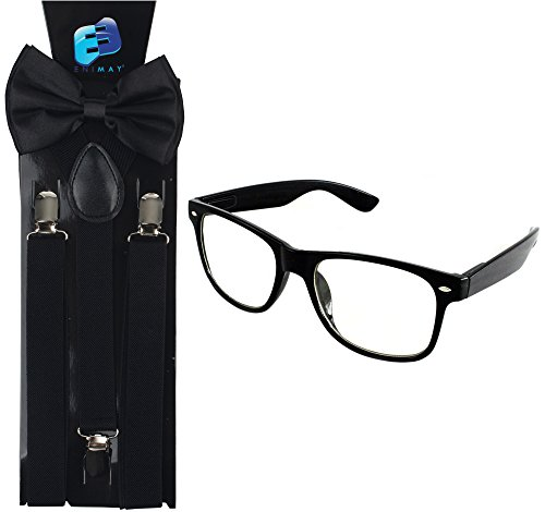 Enimay Suspender Bowtie Nerd Clear Glasses Nerd Costume Halloween (Black 1) -