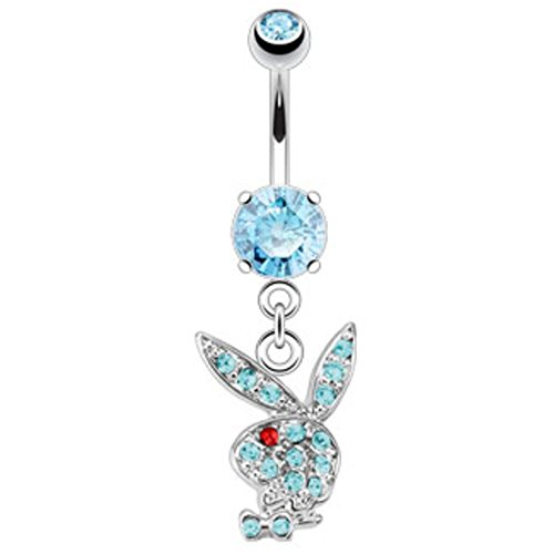 - Dynamique Multi Paved Gems On Playboy Bunny Dangle Navel Ring