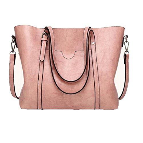 Bolso De Hombro De Cuero Retro Bolso Simple Bolso De Totalizador Nuevo Del Bolso,Pink Pink