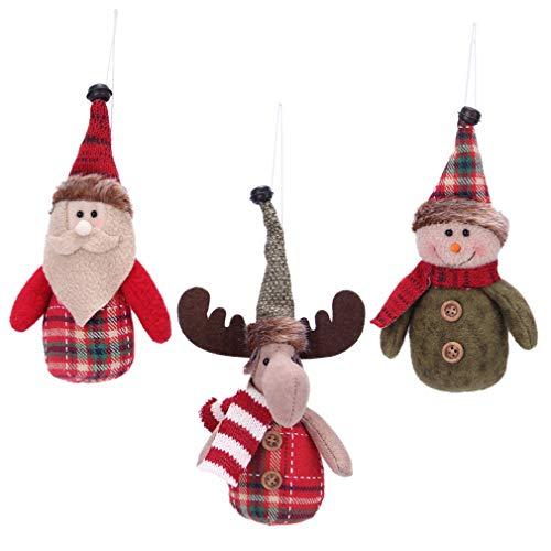 VIAME Handmade Christmas Tree Ornaments Snowman Santa Claus Deer Christmas Figurines Gifts Hanging Decor Toys for Christmas Tree Decorations(Figurine Deco) (Gifts Christmas Felt Handmade)