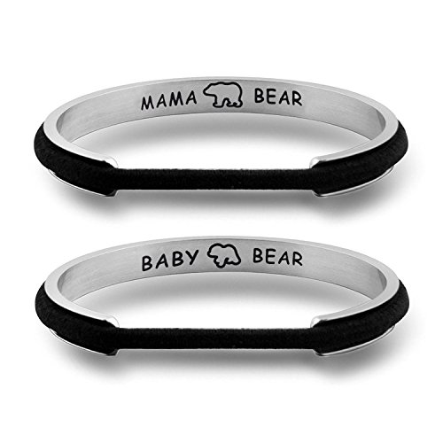 WUSUANED Mother Daughter Bracelet Set Mama Bear And Baby Bear Hair Tie Grooved Cuff Bangle Bracelet Mother's Day Gift For Mom Grandma (mama baby bear set S) - Chic Bear