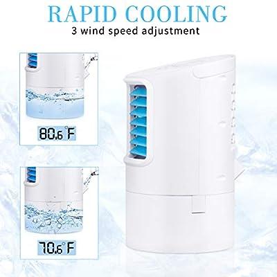 Vidanoble Portable Air Conditioner Fan, Mini Personal Evaporative Air Cooler Small Desktop Cooling Fan with 7 Colors LED Lights, Super Quiet Personal Table Fan Mini Evaporative Air