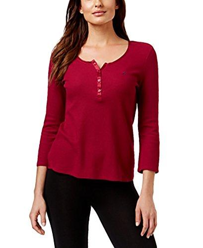 Nautica Long Sleeve Thermal Henley Pajama Top S, Beet Red