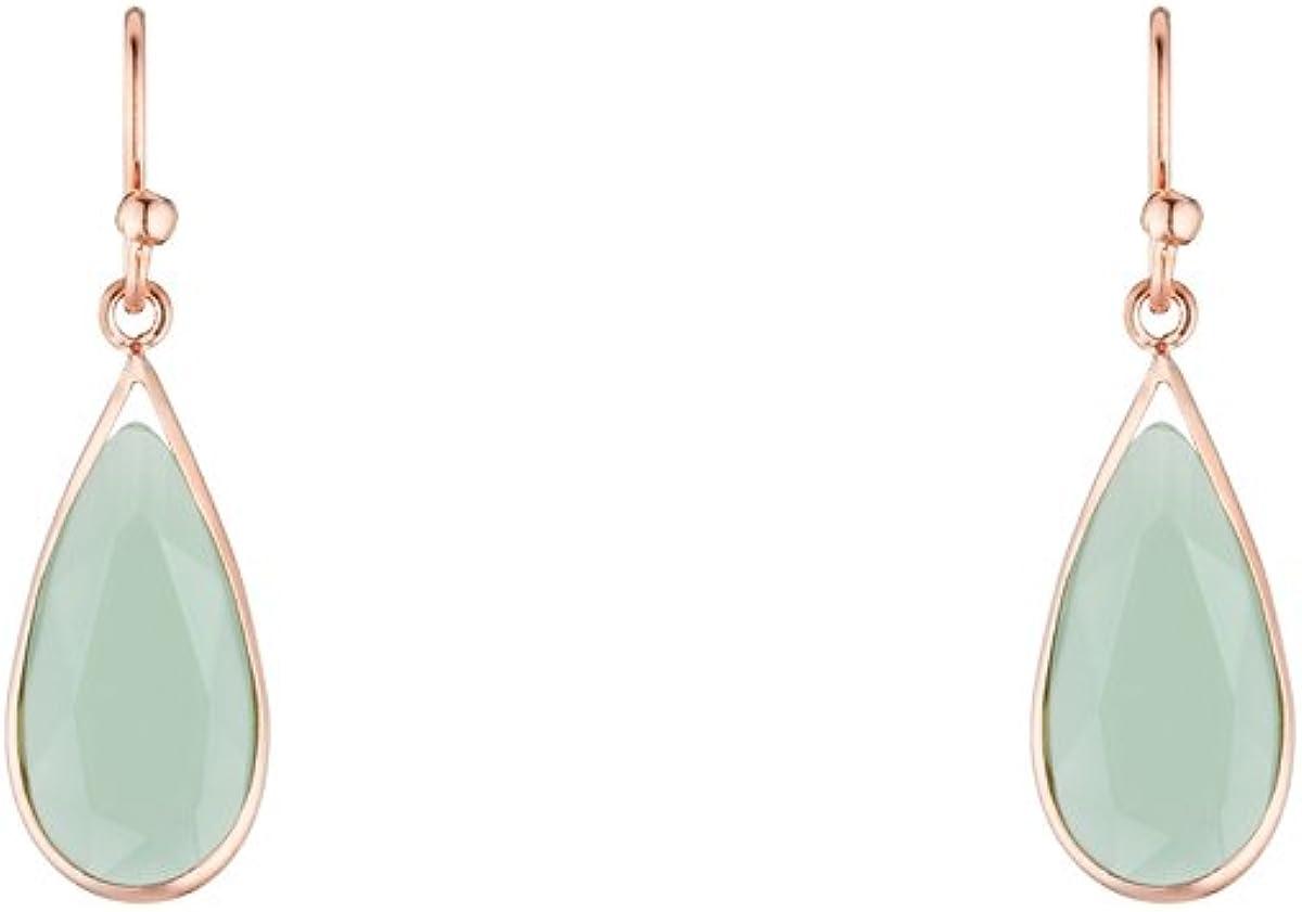 Córdoba Jewels | Pendientes en plata de ley 925 bañados en oro rosa con piedra semipreciosa. Diseño Lágrima Verde Rose Gold