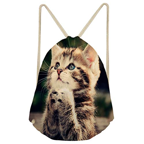 Upetstory Drawstring Sack Pack Backpack Foldable Gym Beach Bag Kawaii Cat Print Pouch for Adults and Kids ()