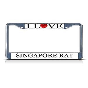 Yves Horace I Love Heart Singapore Rat Chrome Metal License Plate Frame Tag Border