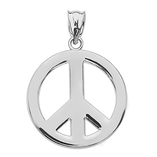 (Sterling Silver Circle Of Peace Sign Symbol Charm Pendant)