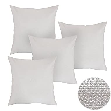 Deconovo Home Decorations Soft Cushion Covers Faux Linen Pillow Covers Throw Pillow Cases for Sofa 18 x 18 Inch Off White Set of 4 ( Only Case, No Insert )