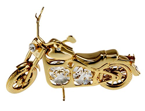 Cruiser Motorcycle Accent - Cruiser Motorcycle 24k Gold Plated Figurine with Swarovski Crystals